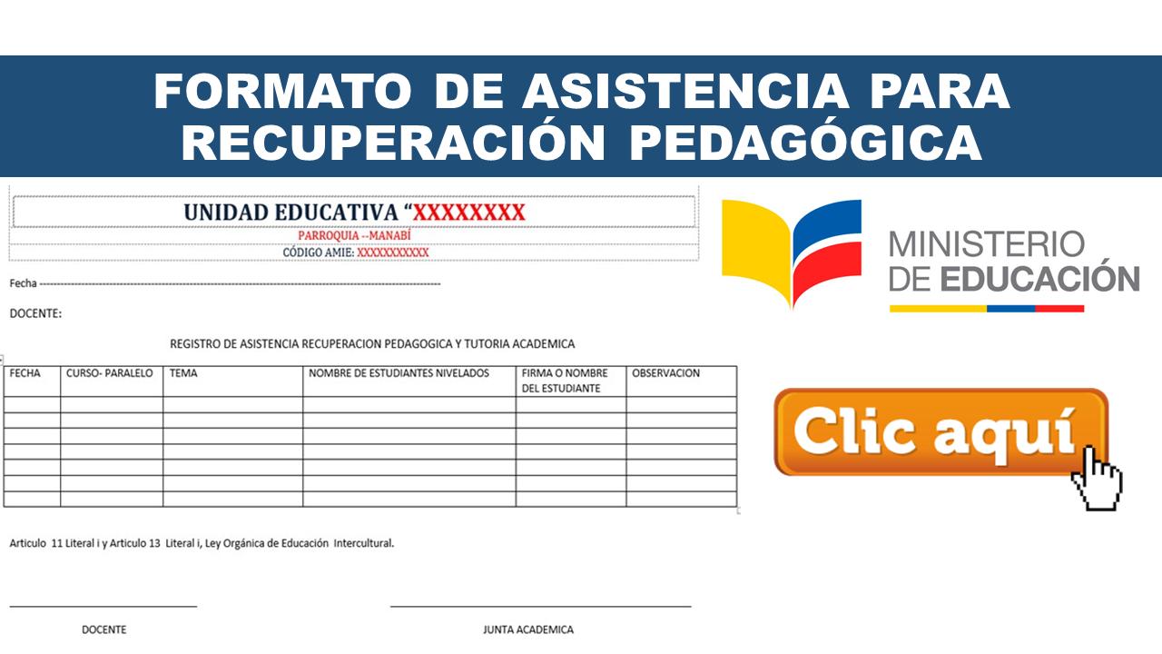 Formato de Asistencia para Recuperación Pedagógica