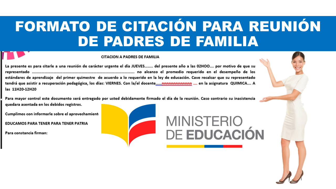 Formato de Citación para Reunión de Padres de Familia