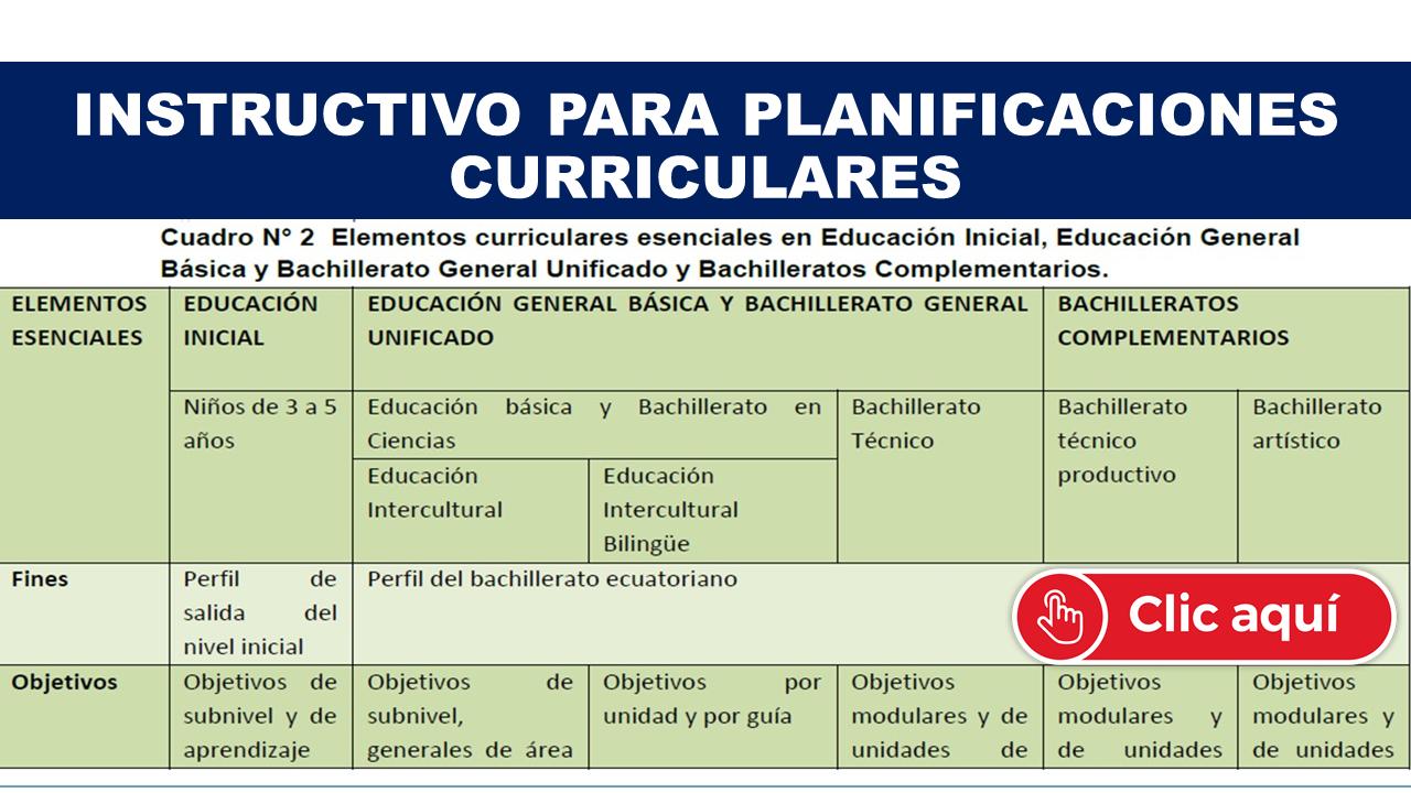 Instructivo para Planificaciones Curriculares Mineduc