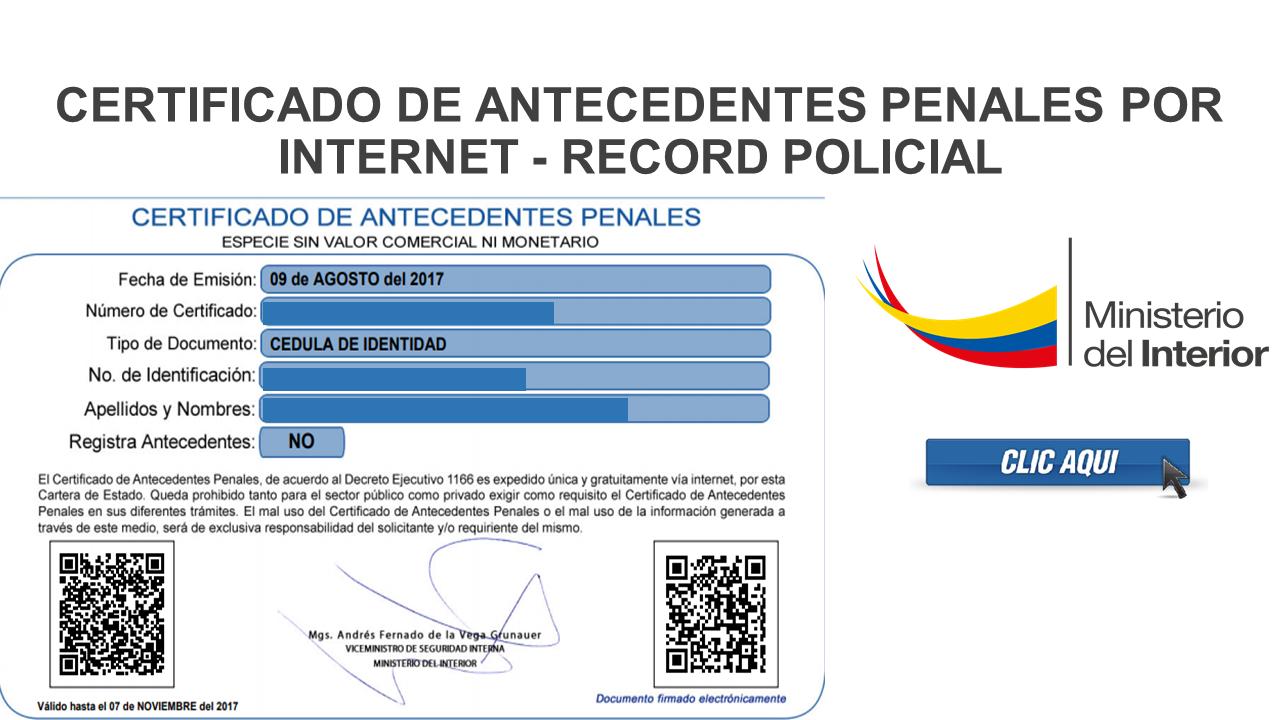 Certificado de antecedentes penales por Internet - récord policial