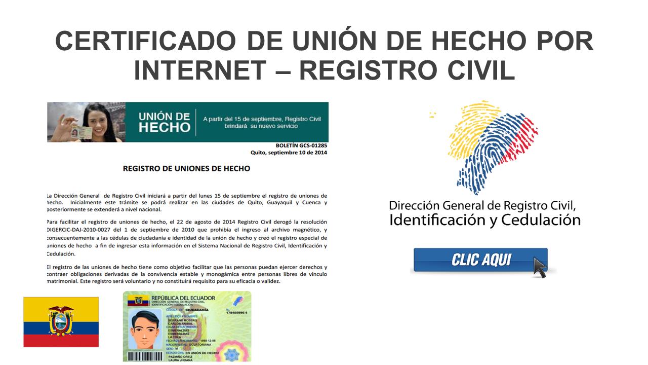 Certificado de Unión de Hecho por Internet – Registro Civil