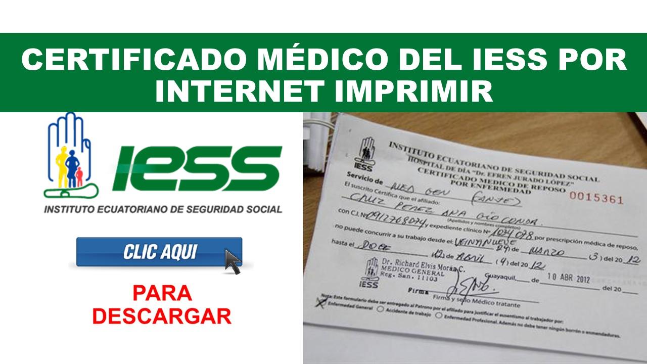 Certificado médico del IESS por - INTERNET IMPRIMIR