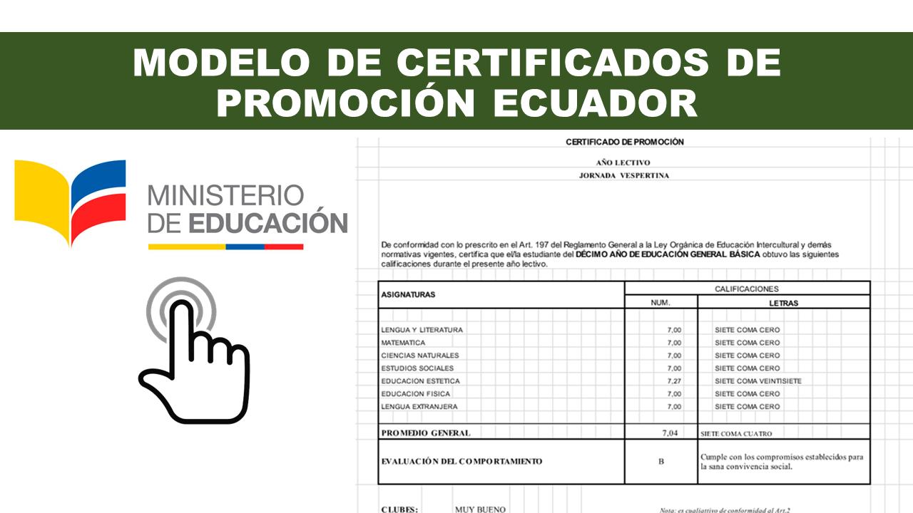 Modelo de Certificados de Promoción Ministerio de Educación