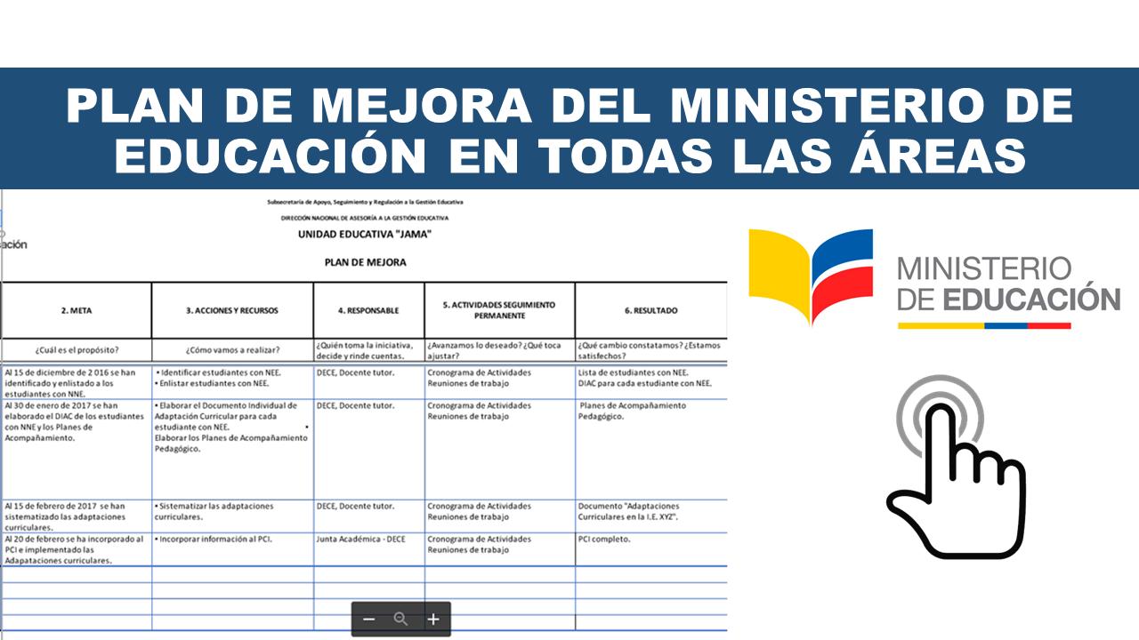 Plan de mejora del Ministerio de Educación en todas las Áreas