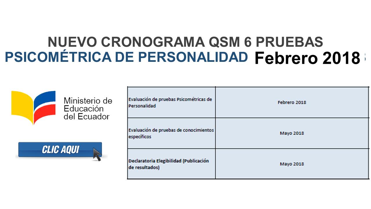 Nuevo cronograma QSM 6 pruebas psicométrica FEBRERO 2018