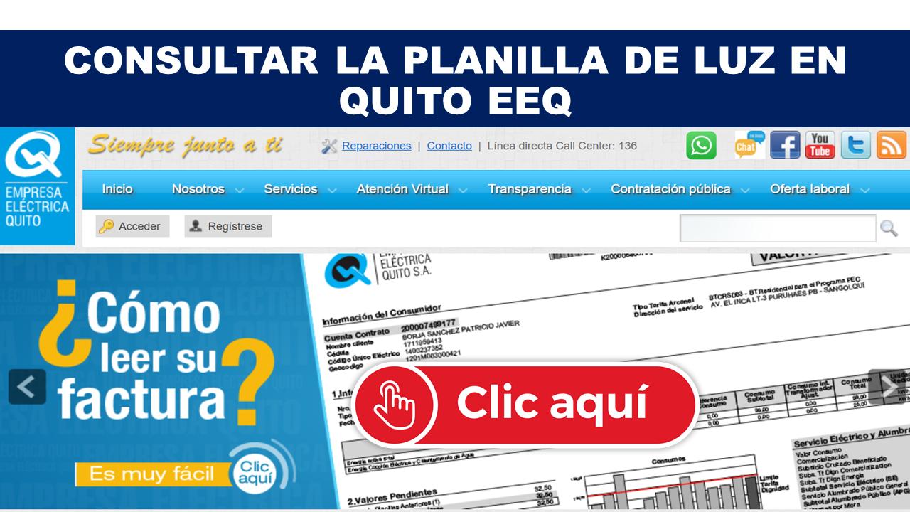Consultar planilla de luz en Quito EEQ - Empresa Eléctrica Quito