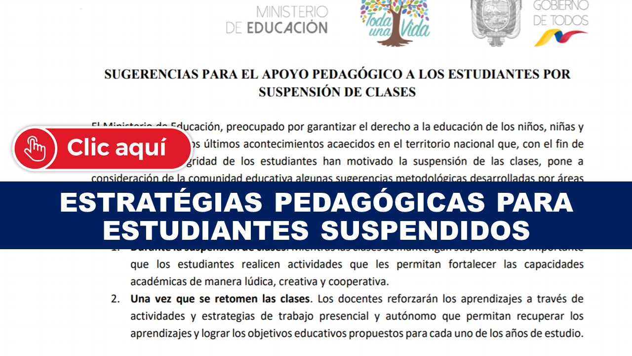 Estrategias pedagógicas para estudiantes suspendidos