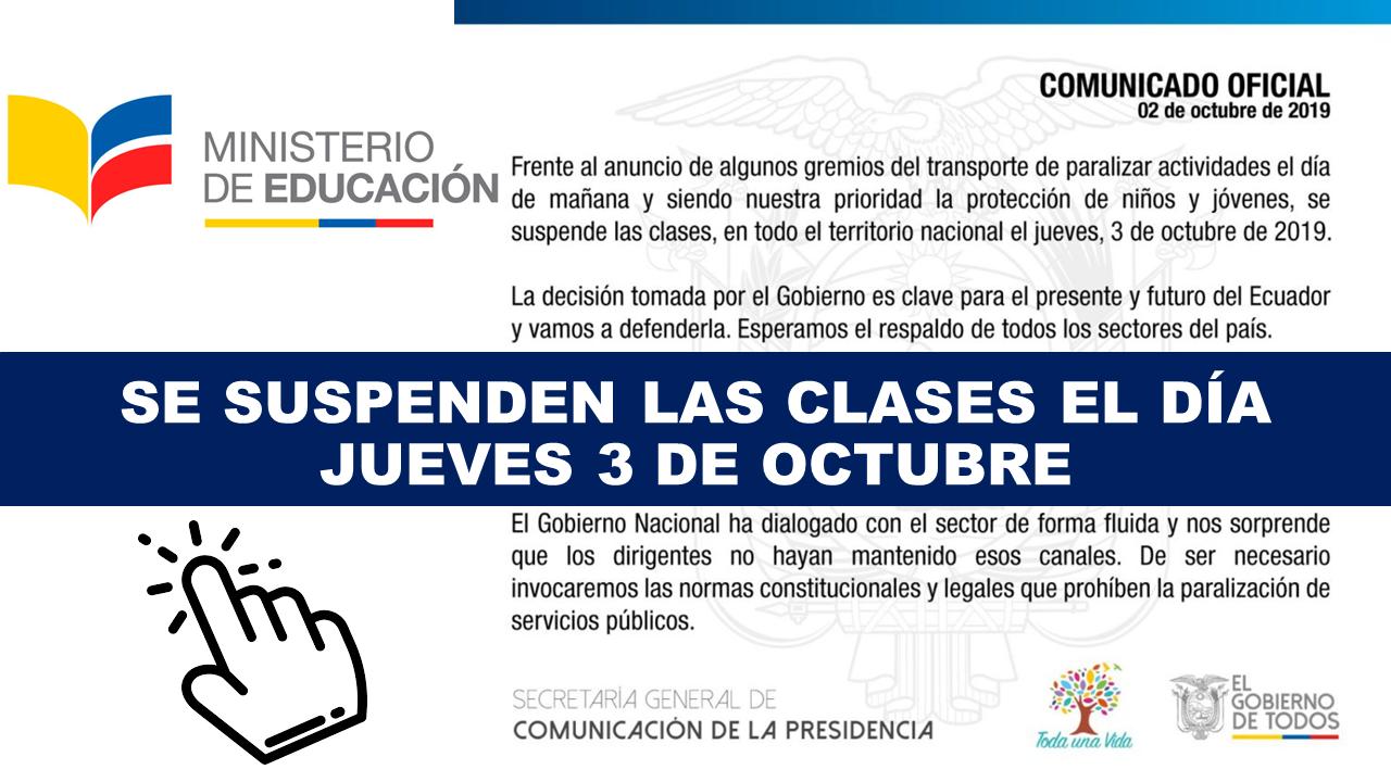 Se suspenden las clases el día jueves 3 de octubre