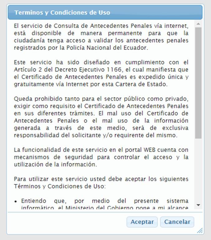 Consultar récord policial Ecuador