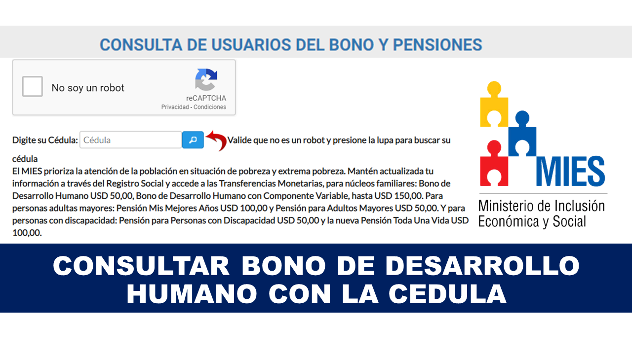 Consultar Bono de Desarrollo Humano con la Cédula