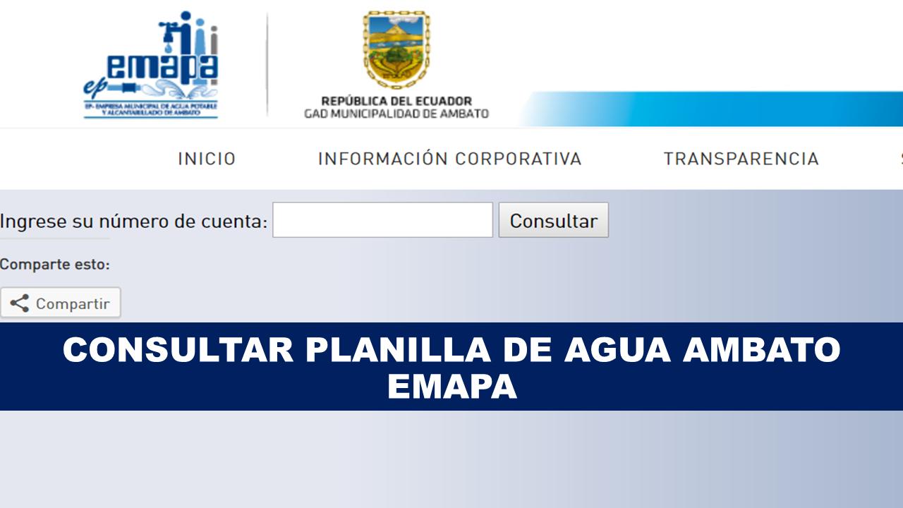 Consultar planilla de agua Ambato - EMAPA
