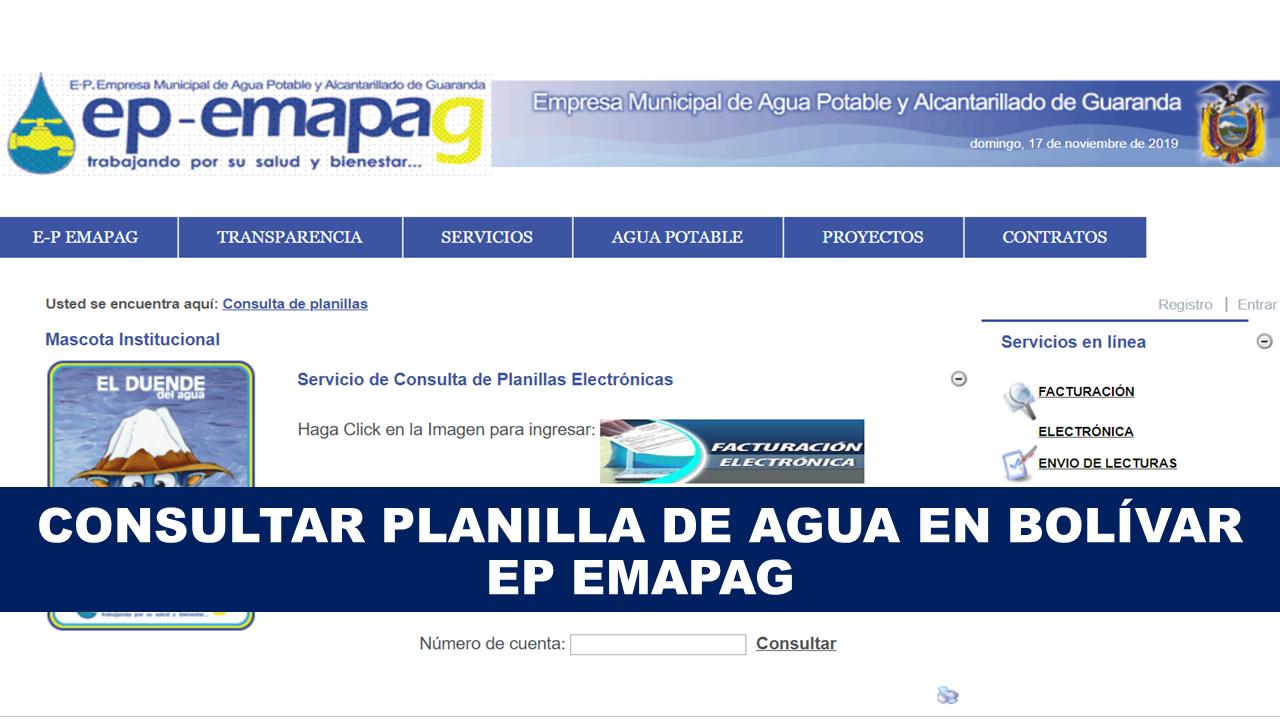 Consultar planilla de agua Bolívar - EP EMAPAG