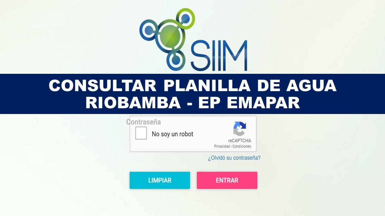 Consultar planilla de agua Riobamba - EP EMAPAR