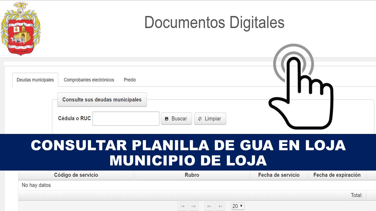 Consultar planilla de agua Loja - Municipio de Loja