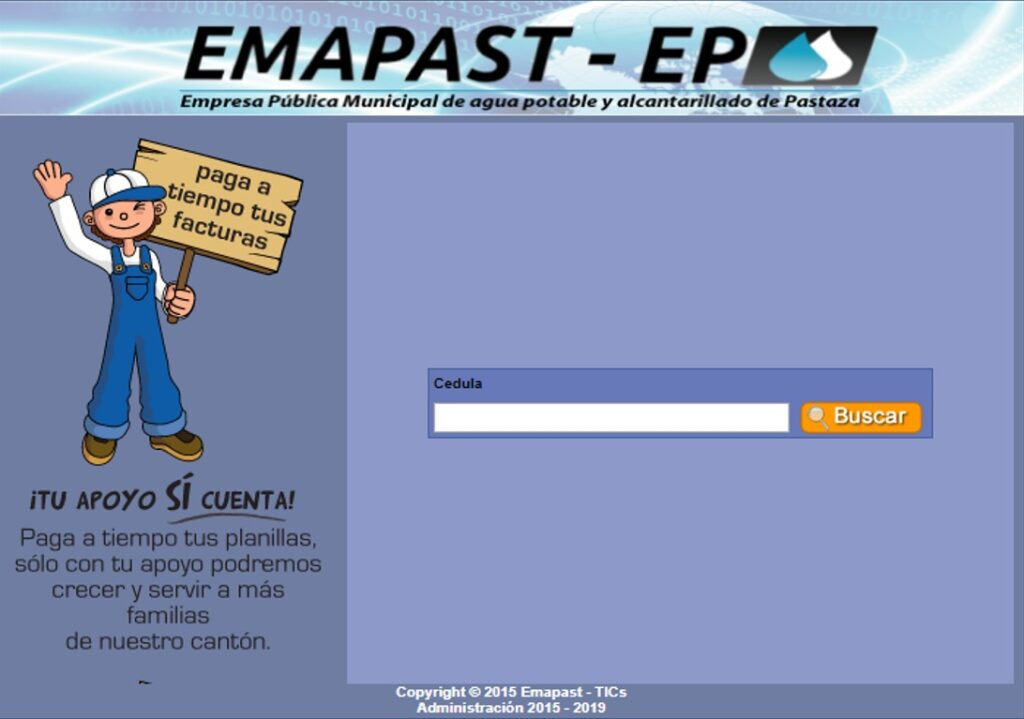 Consultar planilla de agua en Pastaza-EMAPAST EP