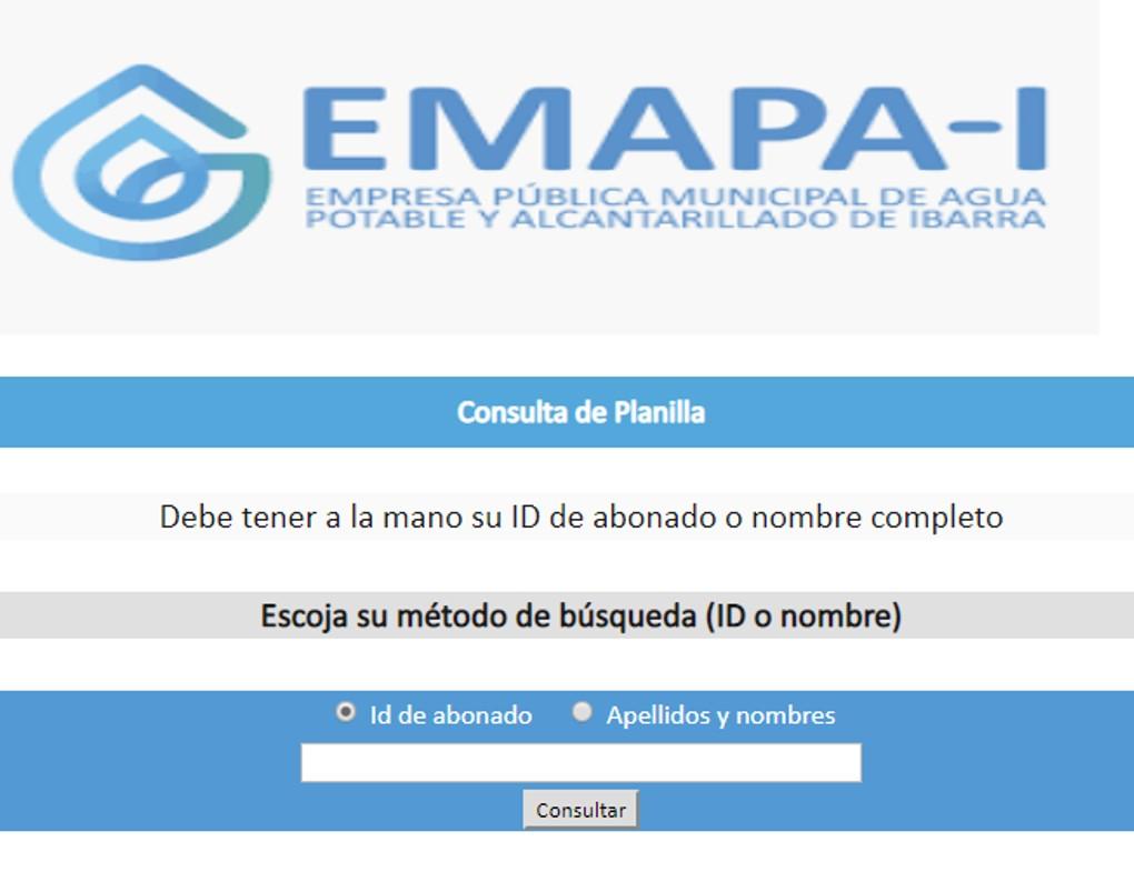 Consultar planilla de agua en Ibarra-EMAPA-I
