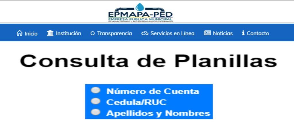 Consultar planilla de agua en Pedernales-EPMAPA-PED