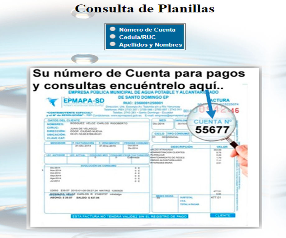 Consultar planilla de agua en Santo Domingo-EPMAPA SD