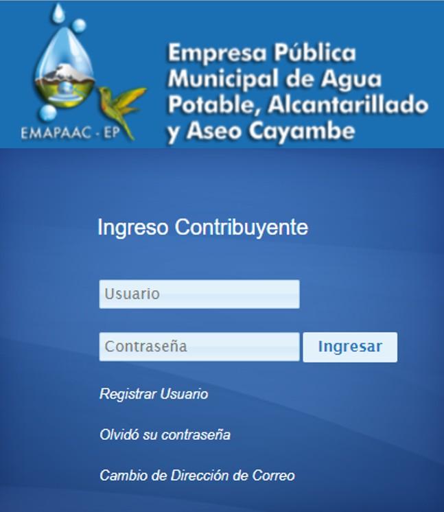 Consultar planilla de agua en Cayambe- EMAPAAC EP