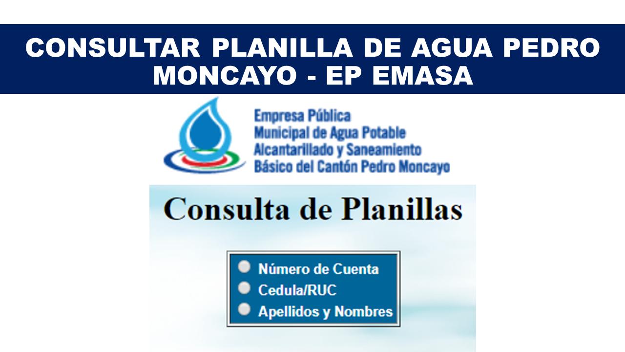 Consultar planilla de agua Pedro Moncayo - EP EMASA