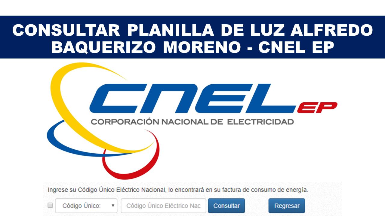 Consultar Planilla de Luz Alfredo Baquerizo Moreno - CNEL EP
