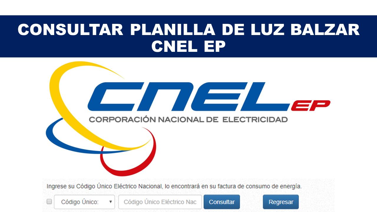 Consultar Planilla de Luz Balzar - CNEL EP
