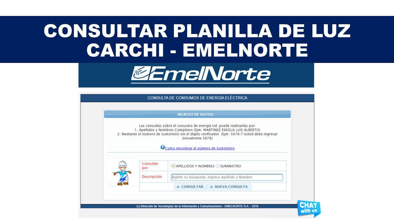 Consultar Planilla de Luz Carchi - EMELNORTE