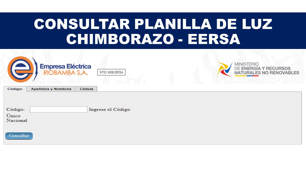 Consultar Planilla de Luz Chimborazo - EERSA