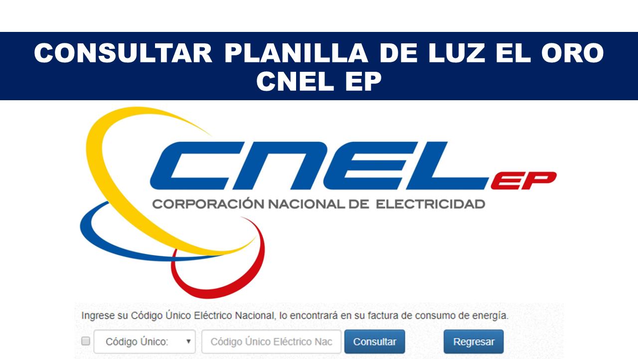Consultar Planilla de Luz El Oro - CNEL EP