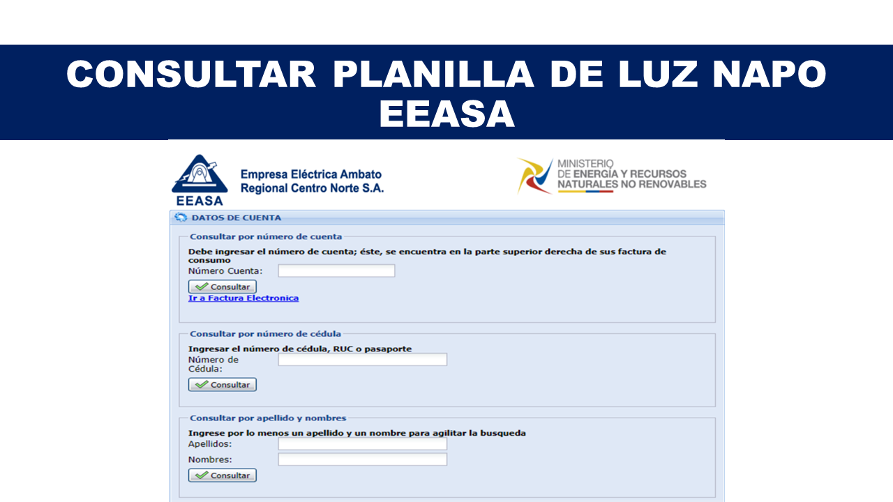 Consultar Planilla de Luz Napo - EEASA