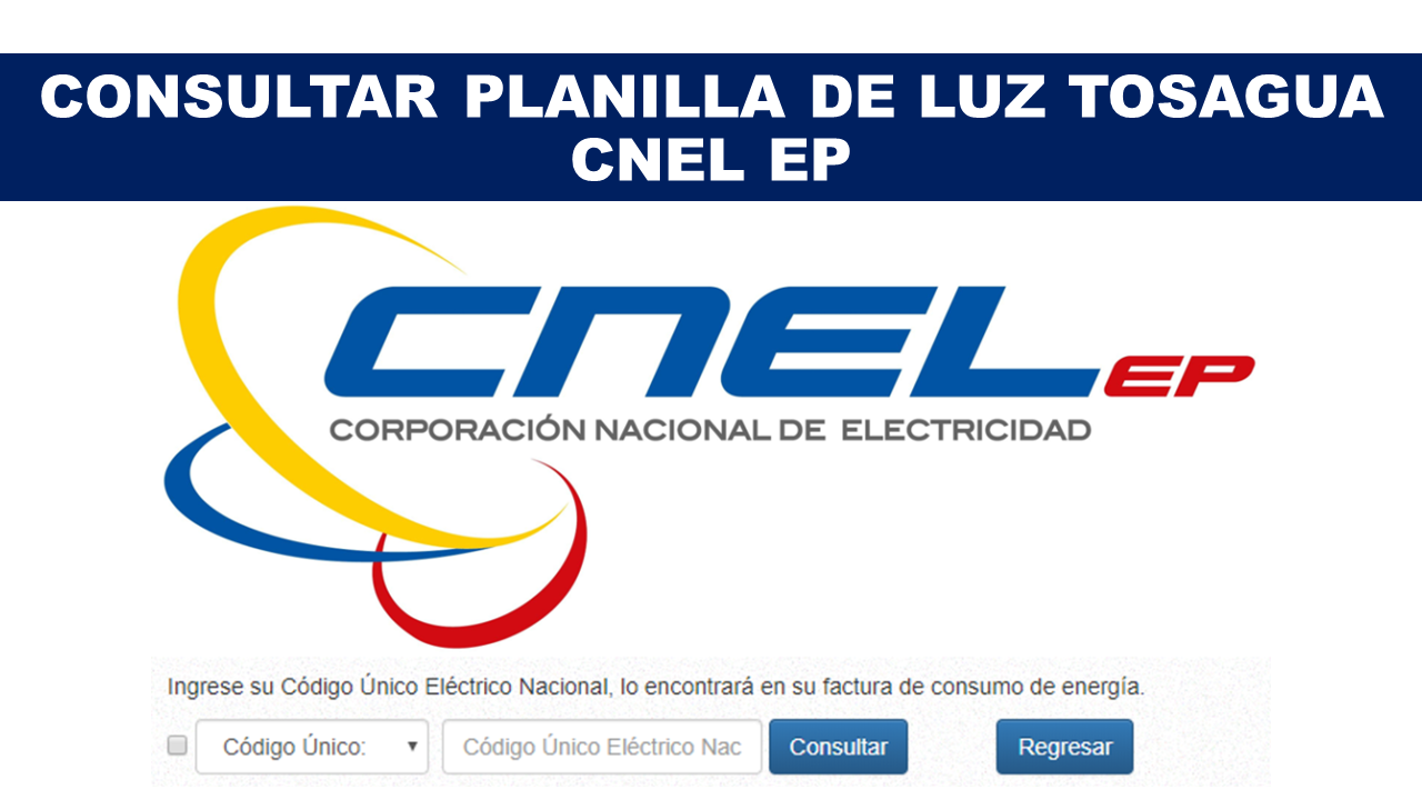Consultar Planilla de Luz Tosagua - CNEL EP