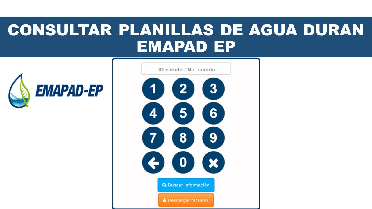 Consultar planillas de agua Duran - EMAPAD EP