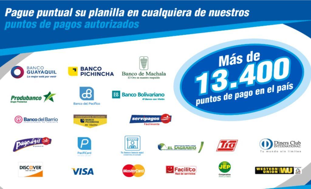 Puntos de pago del consumo de energía eléctrica de CNEL en San Vicente