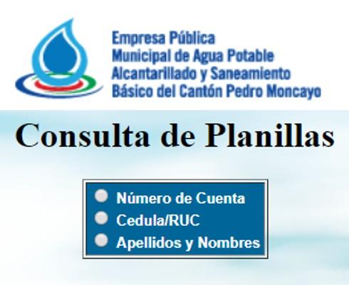Consultar planilla de agua en Pedro Moncayo-EP EMASA