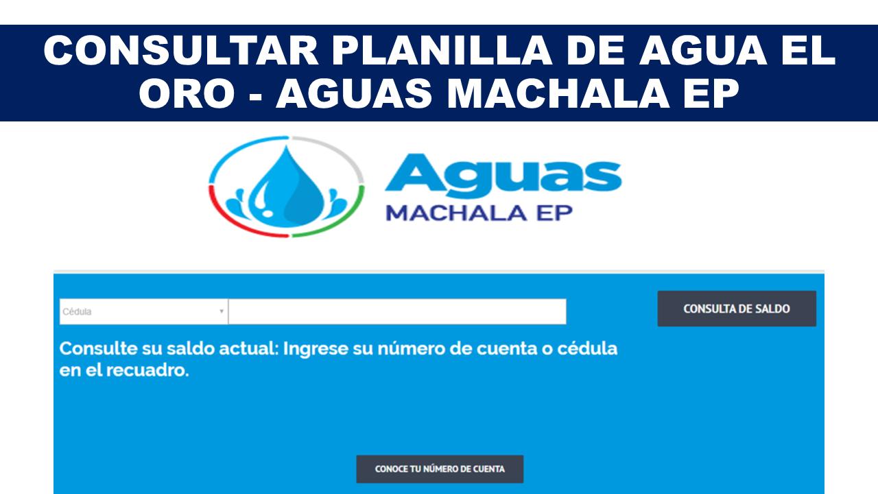 Consultar Planilla de Agua El Oro - Aguas Machala EP