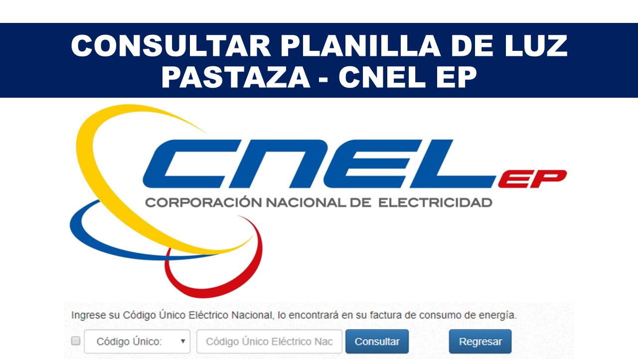 Consultar Planilla de Luz Pastaza - CNEL EP
