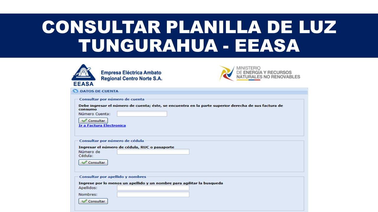 Consultar Planilla de Luz Tungurahua - EEASA
