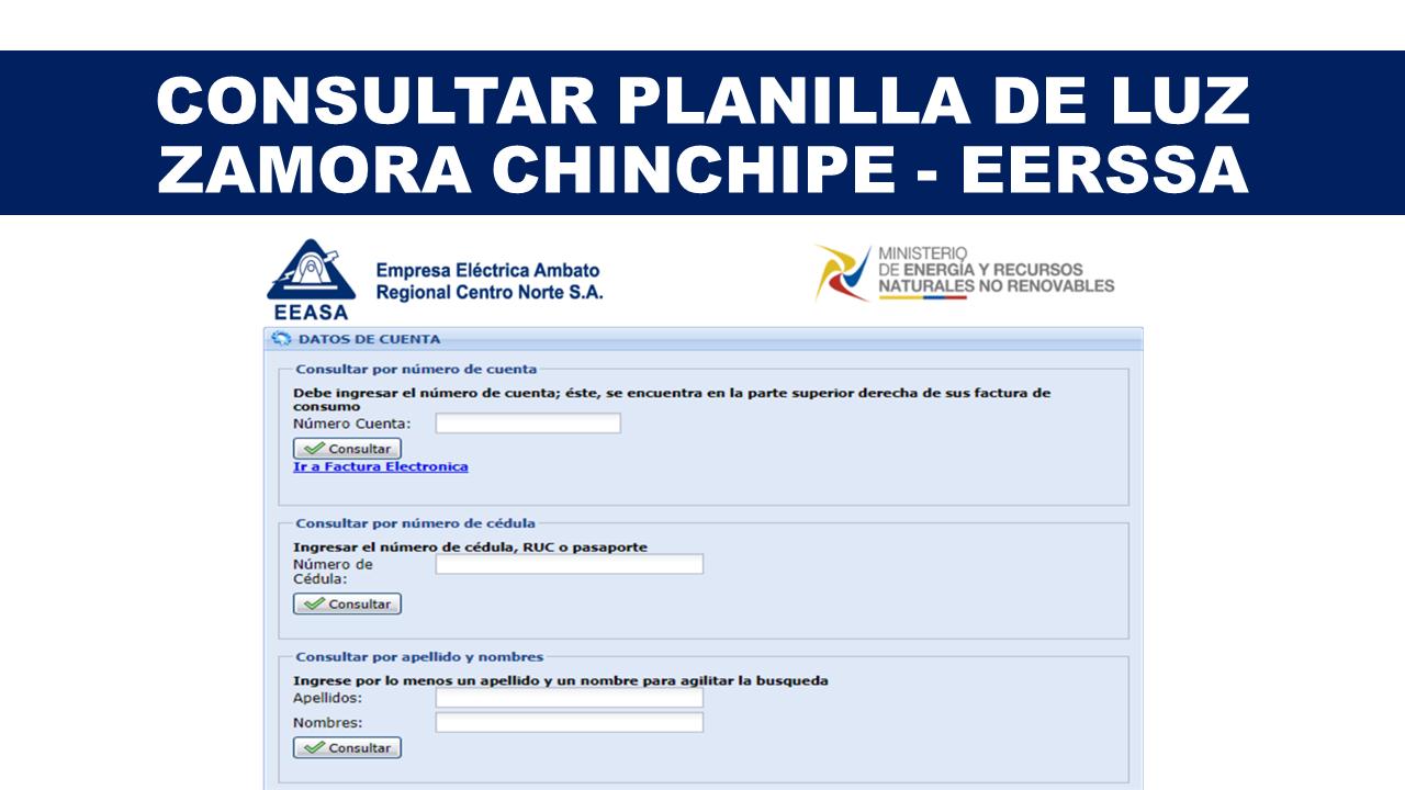 Consultar planilla de luz Zamora Chinchipe - EERSSA