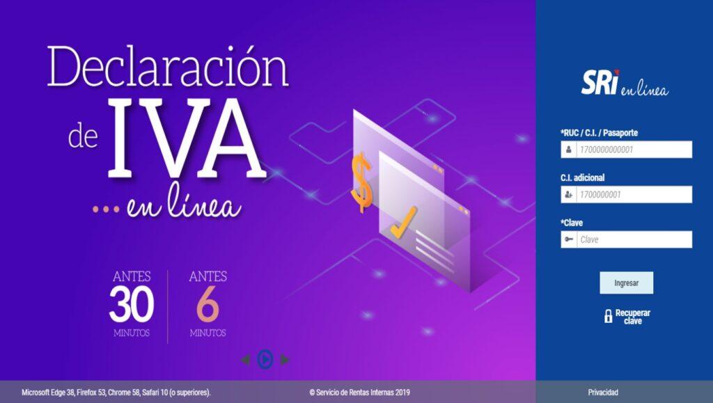 Declaración del IVA mensual en línea-SRI
