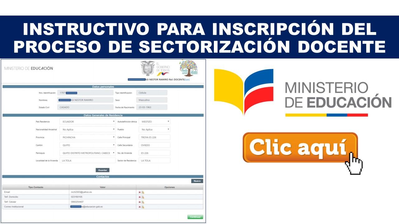 Instructivo para Inscripción del Proceso de Sectorización Docente