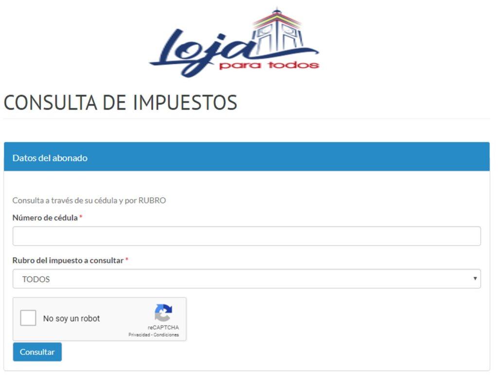 Consultar Impuesto Predial en Loja