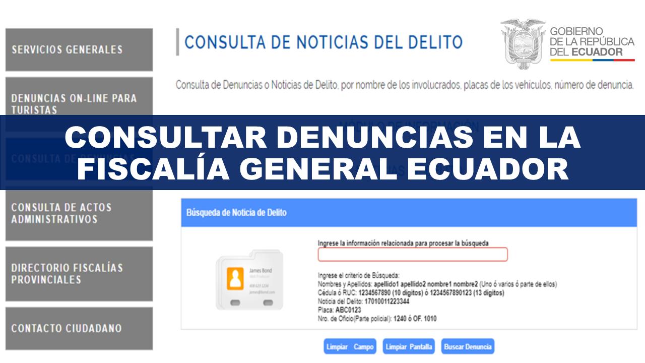 Consultar Denuncias en la Fiscalía General del Estado Ecuador