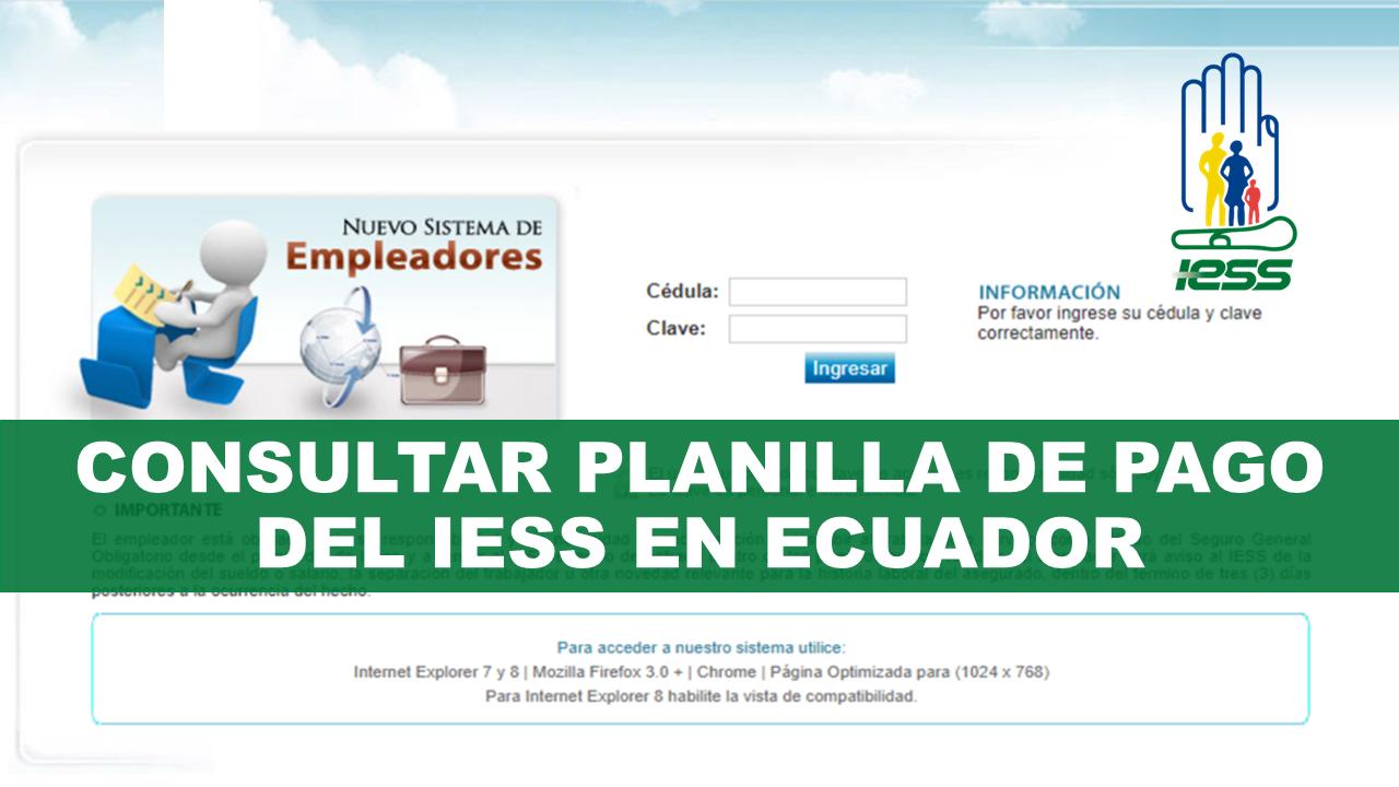 Consultar Planilla de Pago del IESS en Ecuador