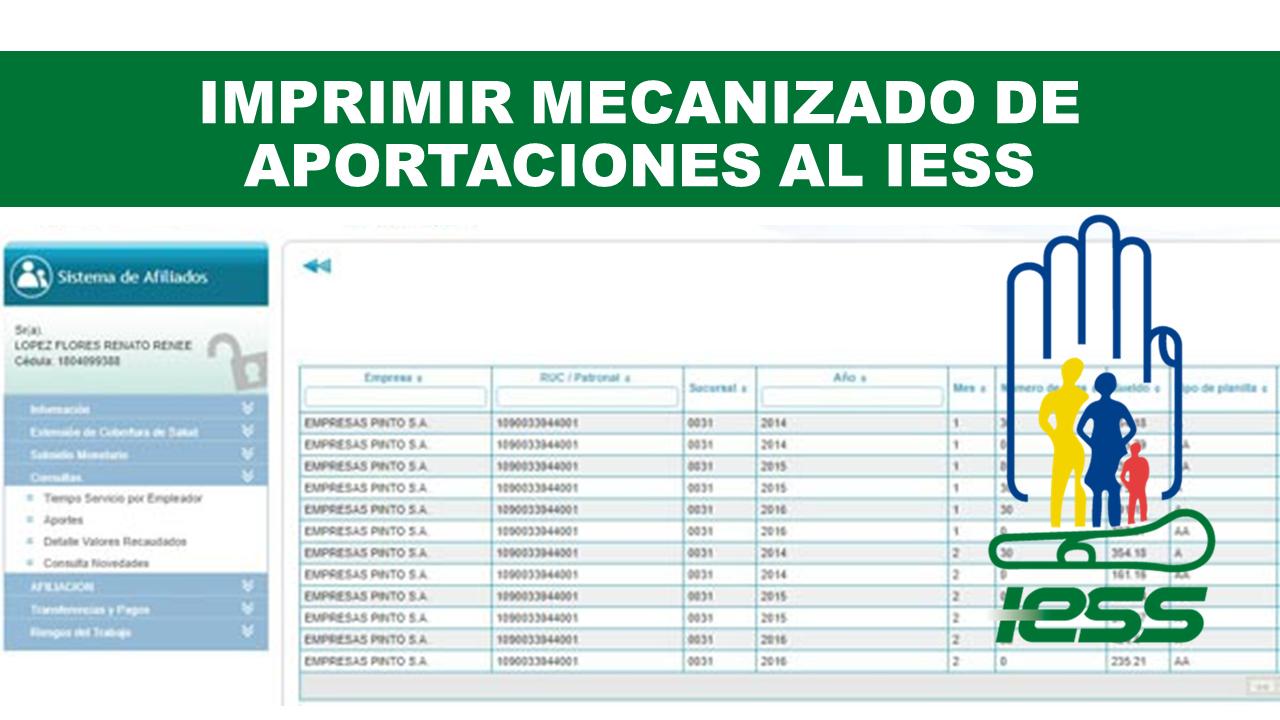 Imprimir Mecanizado de Aportaciones al IESS