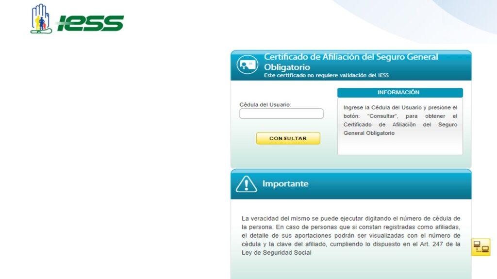Imprimir certificado de no aportar al IESS