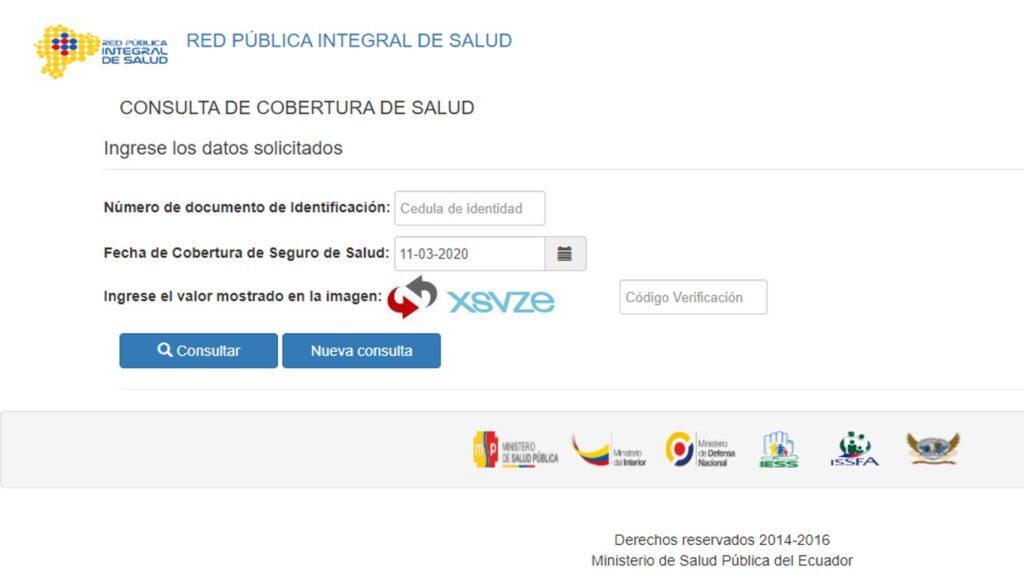 Consultar cobertura de salud-IESS ISSFA ISSPOL MSP