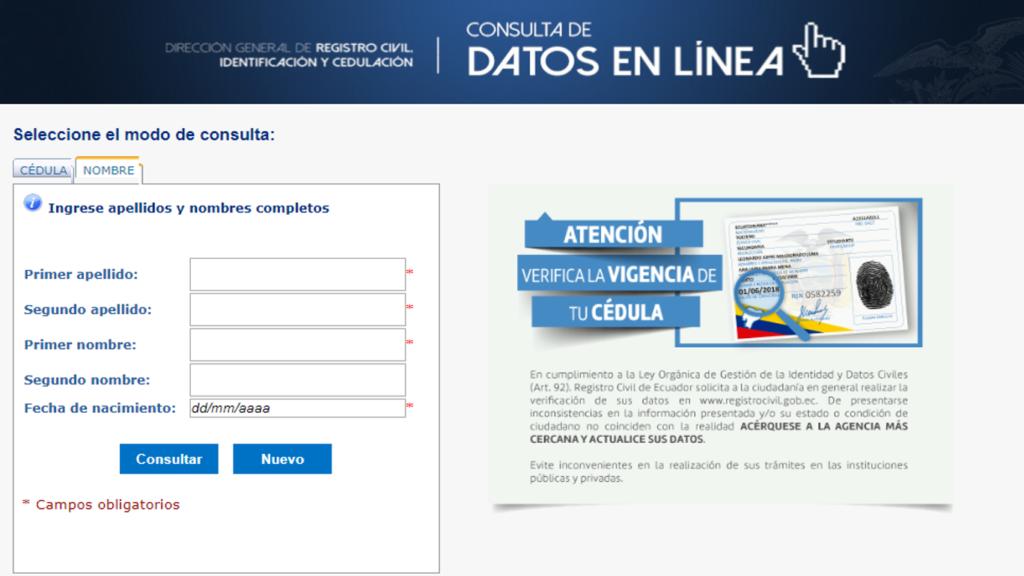 Como saber el número de cédula de una persona en Ecuador