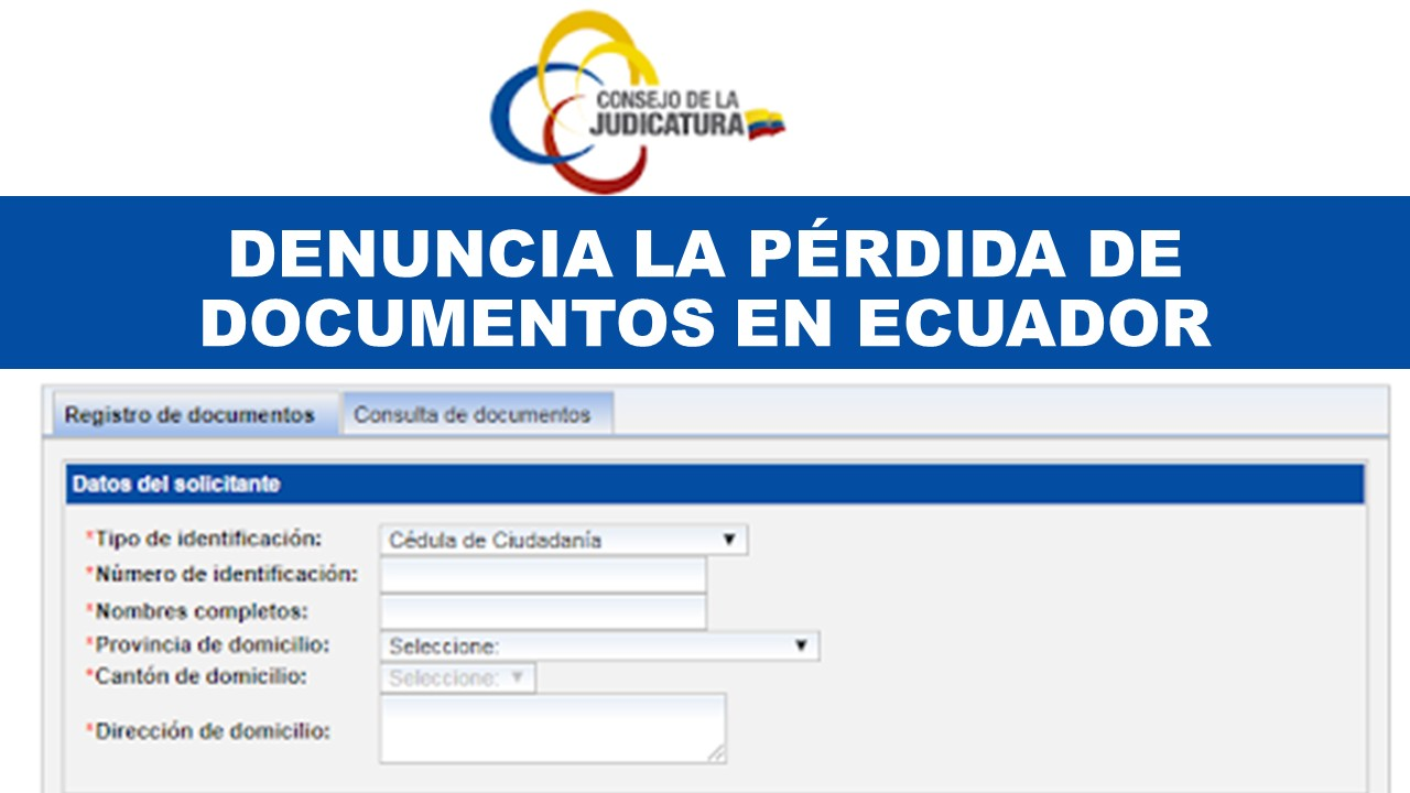 Denuncia de pérdida de documentos en Ecuador formulario