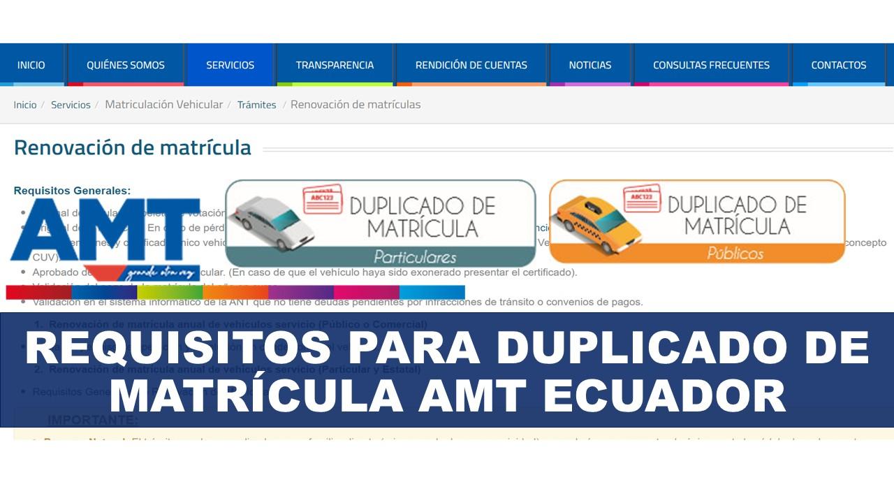 Requisitos para duplicado de matrícula AMT Ecuador