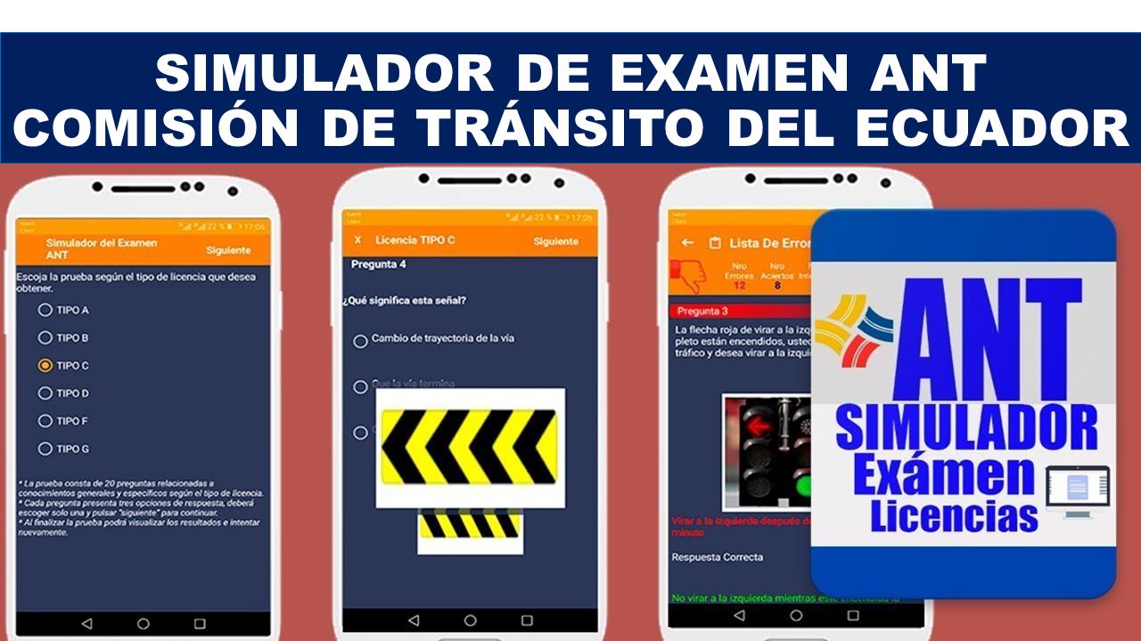 Simulador de examen ANT – Comisión de Tránsito del Ecuador